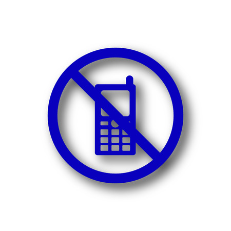 use regulation: Mobile phone restricted icon. Blue internet button on white background.