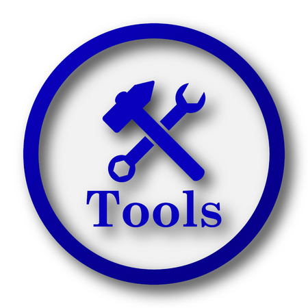 Tools icon. Blue internet button on white background. photo