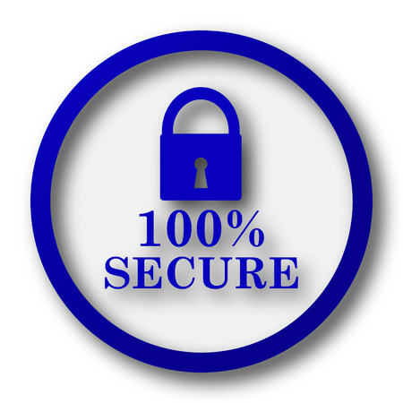 trusty: 100 percent secure icon. Blue internet button on white background.