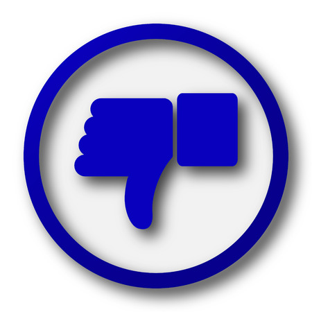 thumb down icon: Thumb down icon. Blue internet button on white background. Stock Photo