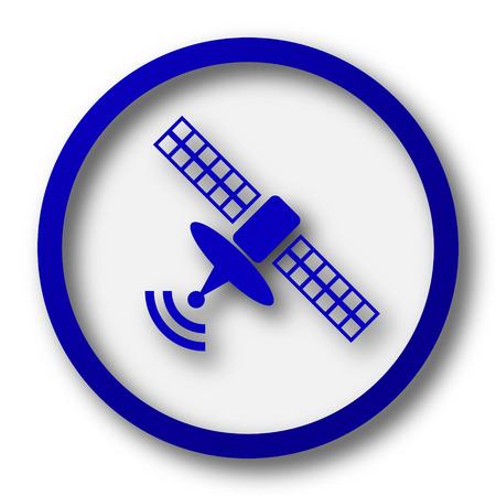 world receiver: Satellite icon. Blue internet button on white background. Stock Photo