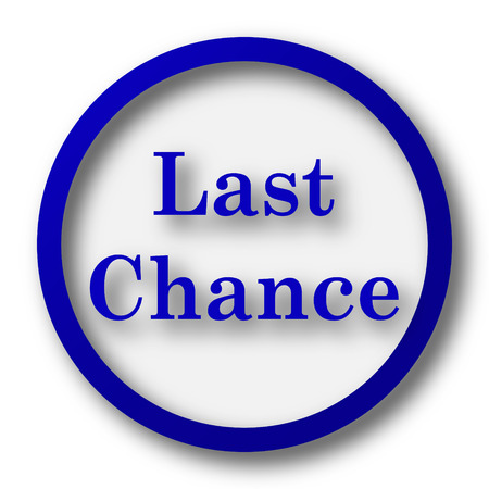chance: Last chance icon. Blue internet button on white background.