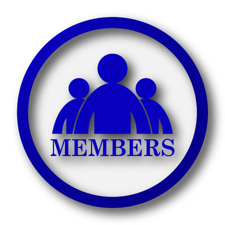 Members icon. Blue internet button on white background.