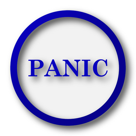 panic button: Panic icon. Blue internet button on white background.