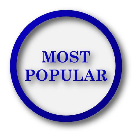 most popular: Most popular icon. Blue internet button on white background.