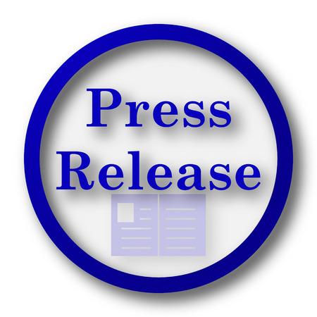 release: Press release icon. Blue internet button on white background.