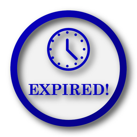 expired: Expired icon. Blue internet button on white background.