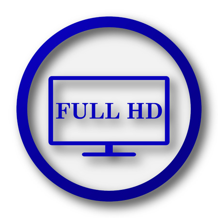 hd: Full HD icon. Blue internet button on white background. Stock Photo