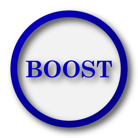 booster: Boost icon. Blue internet button on white background.