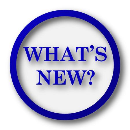 Whats new icon. Blue internet button on white background. Stock Photo