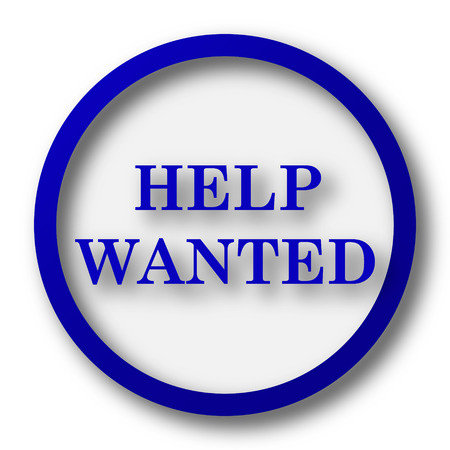 vacancy: Help wanted icon. Blue internet button on white background.