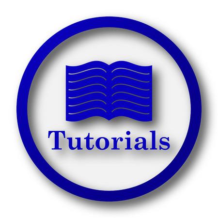 tutorials: Tutorials icon. Blue internet button on white background.