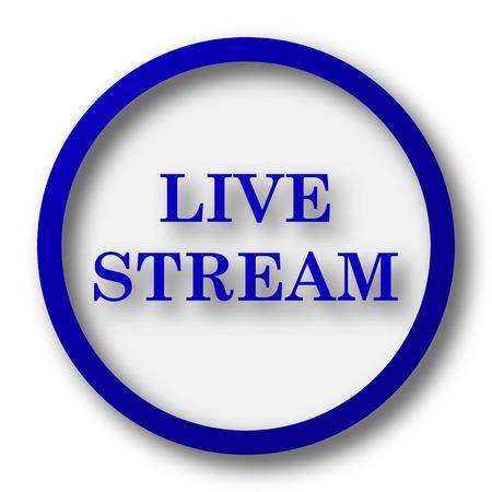 news cast: Live stream icon. Blue internet button on white background.