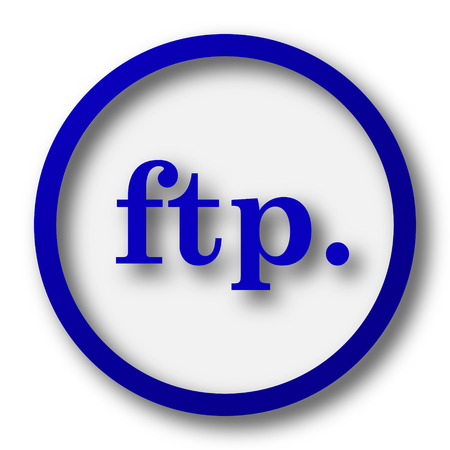 ftp: ftp. icon. Blue internet button on white background. Stock Photo