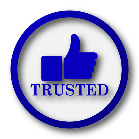 trusted: Trusted icon. Blue internet button on white background.