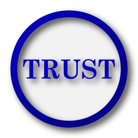 trust icon: Trust icon. Blue internet button on white background.