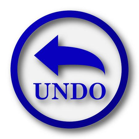 undo: Undo icon. Blue internet button on white background. Stock Photo
