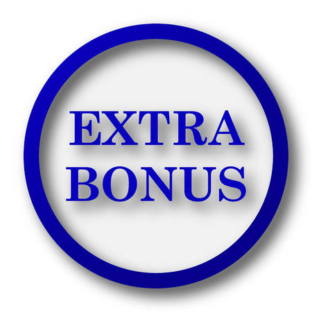 additional: Extra bonus icon. Blue internet button on white background. Stock Photo