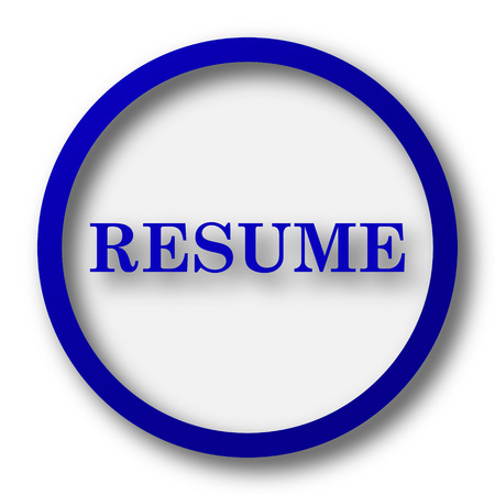 unoccupied: Resume icon. Blue internet button on white background.
