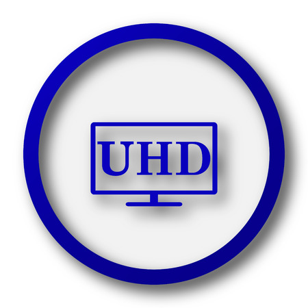 ultra: Ultra HD icon. Blue internet button on white background. Stock Photo