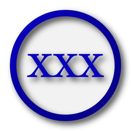 pornografia: icono xxx. Bot�n azul Internet sobre fondo blanco.