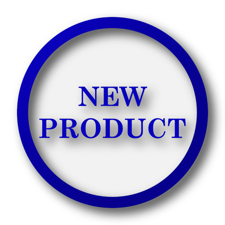 office products: New product icon. Blue internet button on white background. Stock Photo