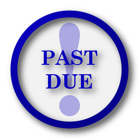 past: Past due icon. Blue internet button on white background. Stock Photo