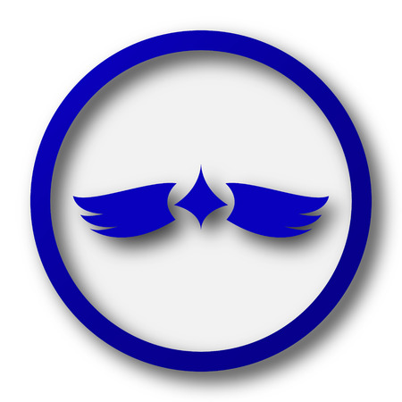chastity: Wings icon. Blue internet button on white background. Stock Photo