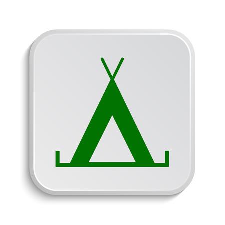3d bungalow: Tent icon. Internet button on white background. Stock Photo