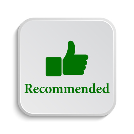 recommend: Recommended icon. Internet button on white background. Stock Photo