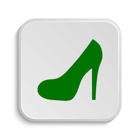 women's shoes: High heel icon. Internet button on white background. Stock Photo