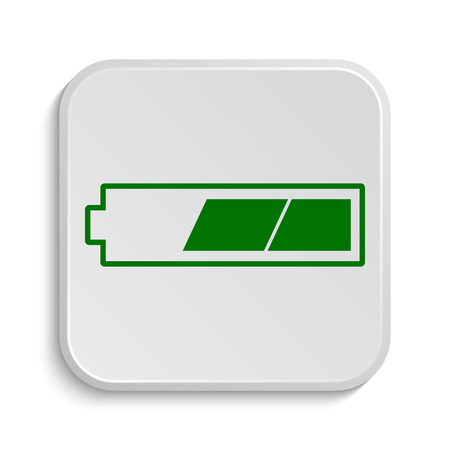 2 thirds charged battery icon. Internet button on white background.