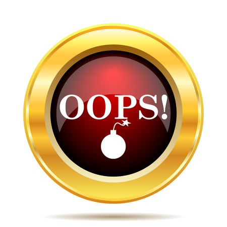 oops: Oops icon. Internet button on white background.