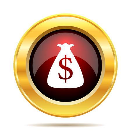 million dollars: Dollar sack icon. Internet button on white background.