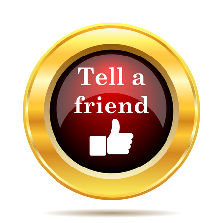 selected: Tell a friend icon. Internet button on white background. Stock Photo