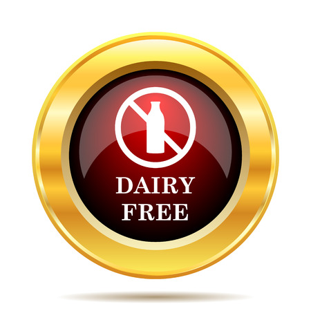 nietolerancyjny: Dairy free icon. Internet button on white background. Zdjęcie Seryjne