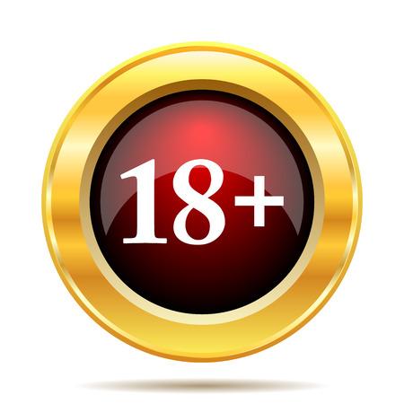 18 plus icon. Internet button on white background.