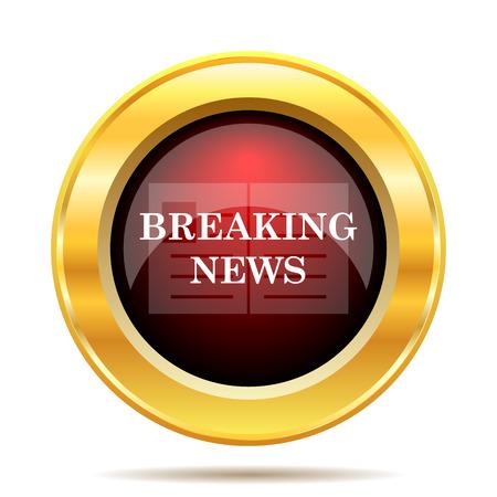 news update: Breaking news icon. Internet button on white background.