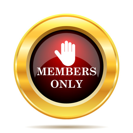 only members: Members only icon. Internet button on white background.