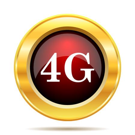 4g: 4G icon. Internet button on white background.