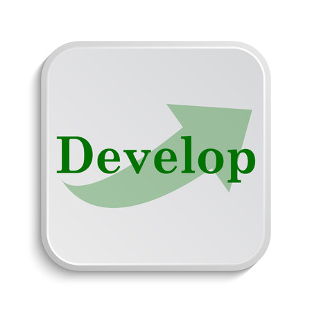 Develop icon. Internet button on white background.