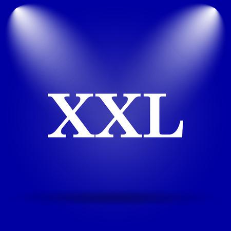 xxl icon: XXL  icon. Flat icon on blue background.