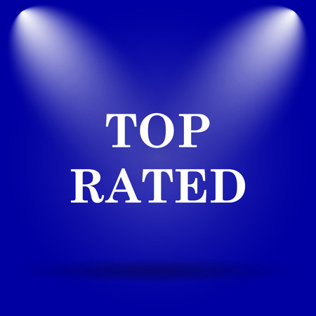top class: Top rated  icon. Flat icon on blue background. Stock Photo