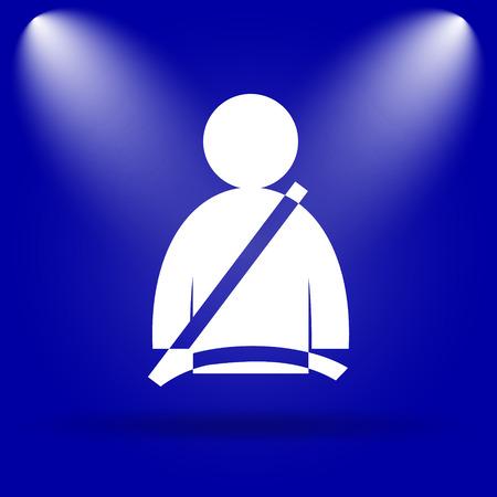 safety belt: Safety belt icon. Flat icon on blue background.