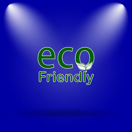 eco friendly icon: Eco Friendly icon. Flat icon on blue background. Stock Photo
