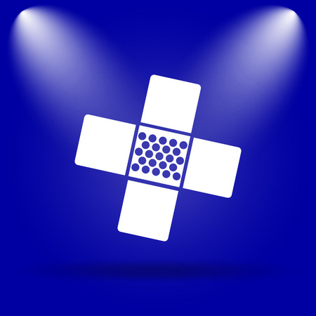 aid: Medical patch icon. Flat icon on blue background.
