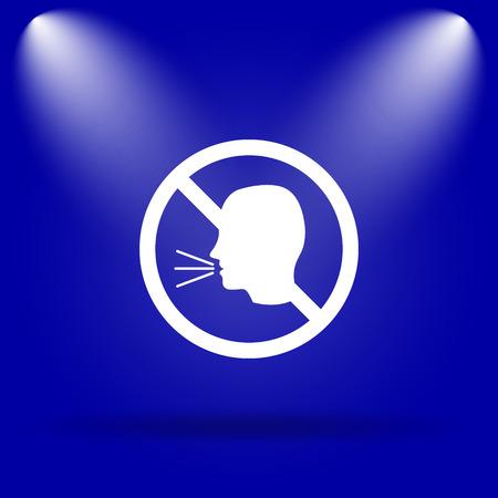 noisily: No talking icon. Flat icon on blue background.