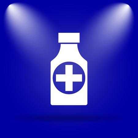 blue pills: Pills bottle  icon. Flat icon on blue background.