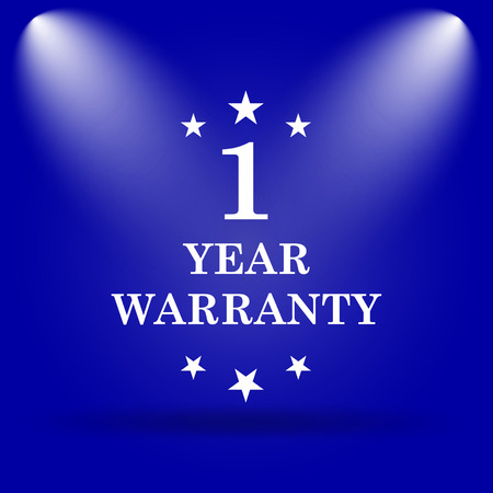 1 year warranty: 1 year warranty icon. Flat icon on blue background. Stock Photo