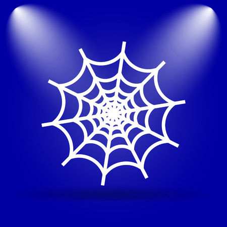 spider web icon: Spider web icon. Flat icon on blue background.